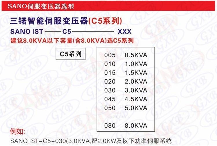 35KVA三锘SANO伺服变压器IST-C5-350-R伺服电子变压器选型