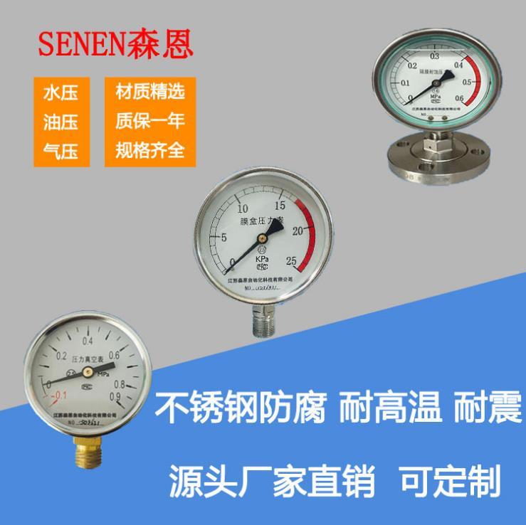 供应YN-100BZF不锈钢耐震压力表
