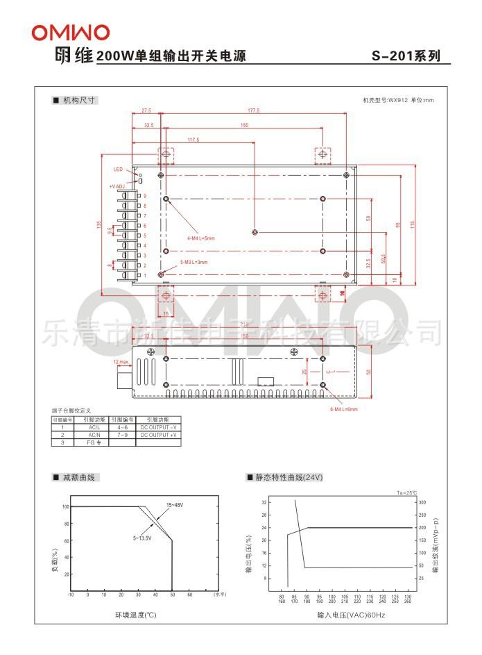 明维S-201-12 12V16.6A单组输出开关电源