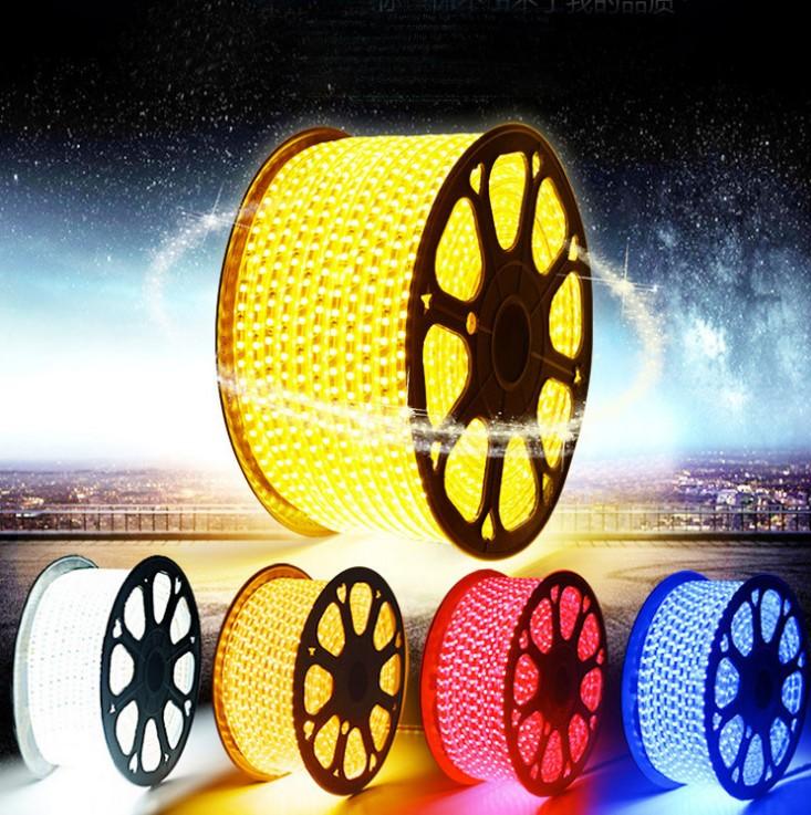 led灯带 5050贴片60珠220V三晶高亮室内吊顶3014防水双排厂家批发