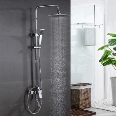 中宇卫浴方型淋浴器精铜 带挂钩下出水淋浴花洒套装大顶喷