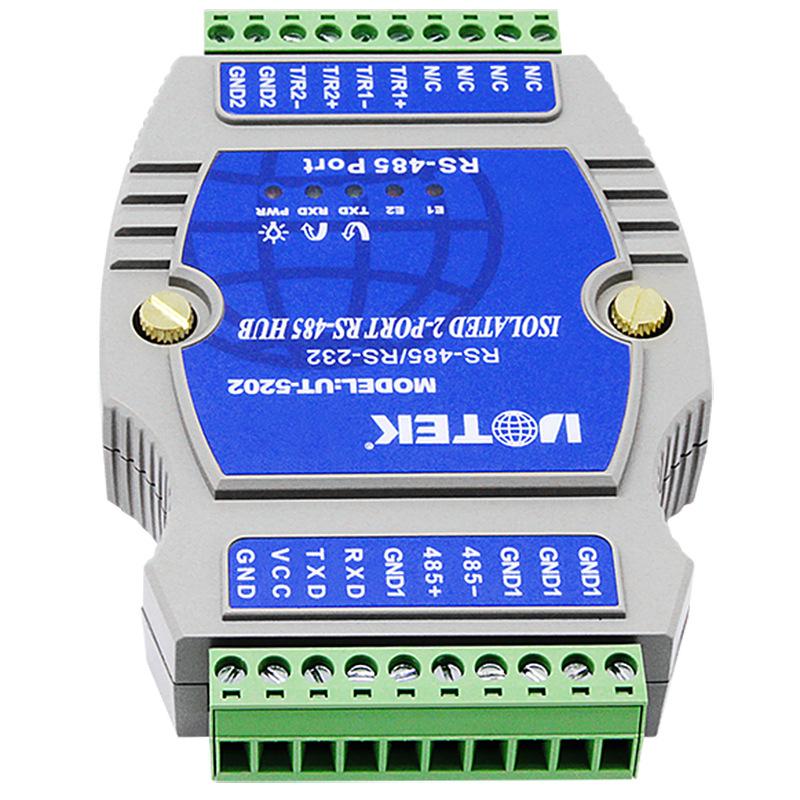 宇泰2口485集线器光电隔离型 工业级1路转2路rs485分配器UT-5202