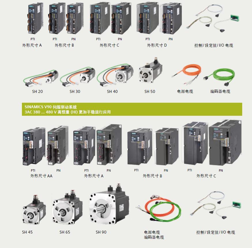 1FL6022-2AF21-1AA1西门子V90伺服电机2500线增量编码器,带键槽,不带抱闸 0.05KW