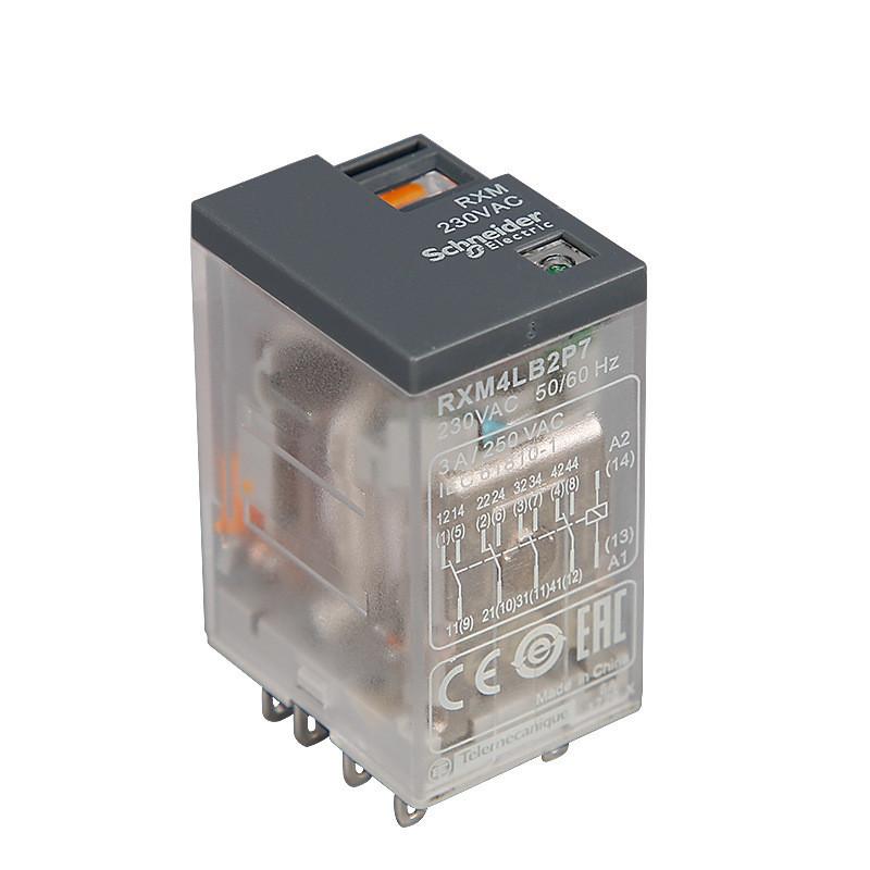 施耐德继电器 AC230V RXM4LB2P7 4开4闭14脚3A 中间小型继电器