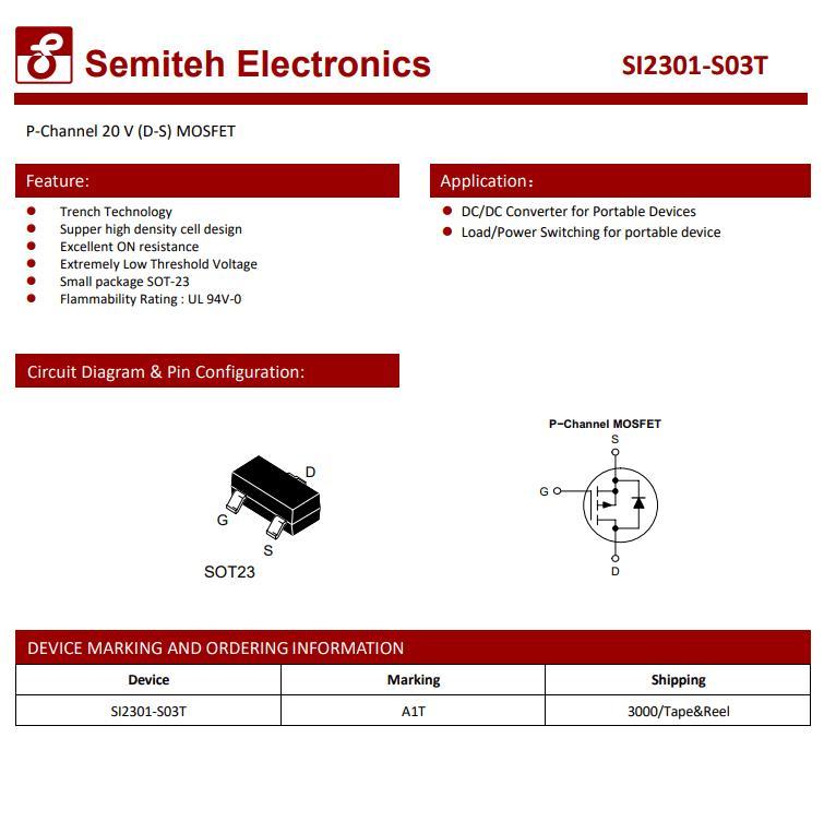 SI2301-S03T(丝印打A1I-S)  封装SOT-23 P沟道MOSFET管 品牌SEMITEH