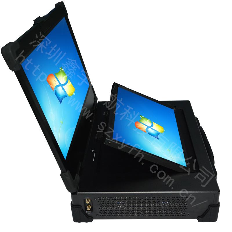 17寸上下双屏工业便携机机箱定制军工电脑外壳加固笔记本工控一体
