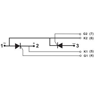 NELL可控硅模块 NKT55/16A 对照semikron SKKT57/16E