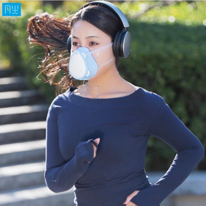 智能口罩 N95口罩同效滤网 5层防护迷你电动送风 戴在头上的空气净化器 电动口罩