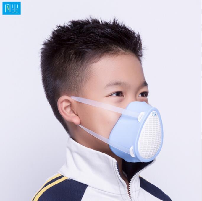 智能电动儿童口罩 N95口罩 电动送风智能电子防尘 儿童专用面罩口罩 天空蓝 凡尘